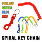 Spiral Key Chain - Snap Belt Clip On Ring Stretch Coil Spring Keyring Safe