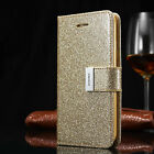 Glitter Magnetic Flip Cover Stand Wallet Leather Case For Samsung & iPhone