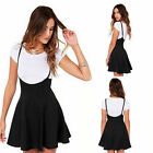 Summer New Womens Ladies Skater Skirt With Shoulder Straps Pleated Dress Black