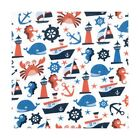 Polycotton Fabric Nautical Boats Sea Creatures Anchors Whales Seahorse