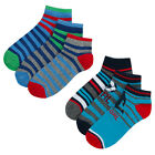Boys 6 Pairs Trainer Liner Socks Cotton Rich Multipack Colourful Stripe Assorted