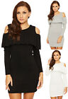Womens Knit Short Mini Dress Ladies Frill Cut Out Cold Shoulder Long Sleeve
