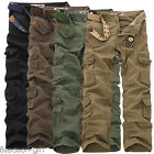 2017 Mens Loose Straight Cargo Casual Pants Military Trousers Pockets Overalls