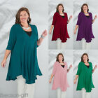 2017 Women's  Plus Size Casual Loose 3/4 Sleeve Irregular Hem Shirt Tunic Dress