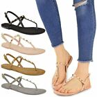 Womens Ladies Flat Ankle Strappy Studded Sandals Summer Flip Flops Shoes Size