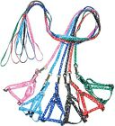 Step In Harness & Leash NYLON Thumb Hook Paws & Bones Print Small & Medium DOG