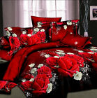 3D Rose Flower Single Double King Size Bedding Pillowcase Quilt Duvet Cover Set