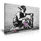 Banksy Sewing Boy Graffiti Canvas Wall Art Home Office Deco