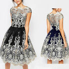 Women Vintage Lace Floral Short Sleeve Formal Evening Party Cocktail Dress