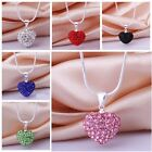 US STOCK Women Pendant Jewelry Crystal Heart 925 Sterling Silver Necklace+Chain
