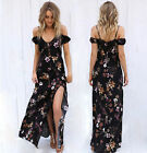 Women's Floral Print Chiffon Long Dress V Neck Strap Off Shoulder Maxi Sundress