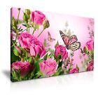 Butterfly Rose Flower Canvas Wall Art Picture Print Decoration 5 Sizes Choose