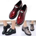 Newly Womans Oxfords Retro Block Heel Shoes Patent Leather Students Causal Shoes