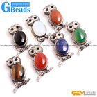 """Natural Gemstone Cleaver Owl Animal Pendant Leather Necklace 18"""" Free Shipping"""