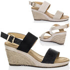 Womens Open Peep Toe Wedge Heel Espadrille Barely There B7Sandals Shoes