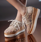 Womens Lace Floral Mesh Breathable Wedge Heel Brogue Sneakers Casual Shoes Pumps