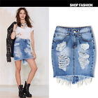 Womens Celeb Ripped Frayed Stretch Bodycon High Waist Jean Denim Skirt