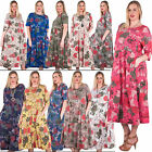 Womens Large Floral Print Cotton Midi Elasticated Smock Dress Plus Size 14 18 24