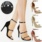Womens Ladies Studded High Heel Party Sandals Strappy Stiletto Barely There Size