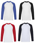 Fruit Of The Loom Men's 100% Cotton Long Sleeve Contrast Baseball T-Shirt Tee