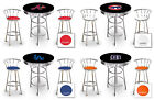 furniture for man cave - MLB THEMED BLACK BAR TABLE SET FOR MAN CAVE W/2 CHROME SWIVEL BAR STOOLS W/BACKS