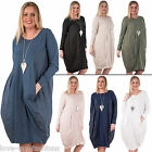 Womens Round Neck Two Pocket Long Sleeve Cotton Tunic Dress Size 10 16 18 20