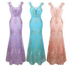 Angel-fashions V Neck Embroidery Lace Flower Straps Mermaid Prom Dress 310