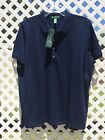 NWT Woman LAUREN RALPH LAUREN Button Placket Cotton SS Top Sz 2X 3X New