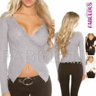 Sexy Women's Wrap Style Jumper Sweater Party Evening Knit Top Size 6 8 10 XS S M