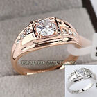 A1-R063 Fashion Men's Band Ring 18KGP Rhinestone Crystal Size 6.5-14