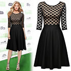 Women Vintage Retro 1940s Polka Dot Cocktail Evening Party Casual Pleated Dress