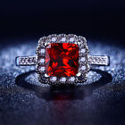 Size 6,7,8 Women's Classic Red Garnet 18K White Gold Filled Engagement Rings