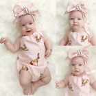 UK Stock Toddler Baby Girls Clothes Bodysuit Romper Jumpsuit Outfit Set Headband
