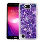 for LG X Power 2 ( US701) HEARTS PURPLE Quicksand Glitter Hybrid SKIN COVER CASE