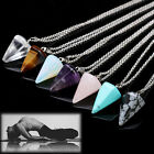 Gemstone Natural Crystal Quartz Healing Point Chakra Stone Pendant Necklace Tl
