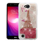 for LG X Power 2 - PINK PARIS GOLD Quicksand Glitter COVER CASE +GLASS SCREEN