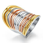 Trendy Women's Size 6-9 Band Stainless Steel Mix Color Wedding Engagement Rings