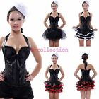 Fashion Lace up boned Satin Padded Cup Corset with Tutu Fancy Skirt Dress