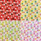 "Floral POLYCOTTON FABRIC - Hippy Daisy - Flower Material - 114cm / 45"" Wide"