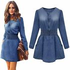 CA Women Vintage Spring Long Sleeved Slim fashion Denim Jeans Party Mini Dress