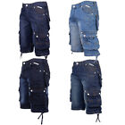 Crosshatch Mens Nordica New Designer Denim Shorts Knee Length Cargo Jeans Pants