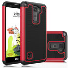 For LG Stylo 2 Plus MS550 Shockproof Hybrid Rugged Rubber Slim Armor Case Cover