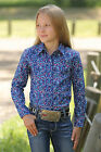 Girl's Cruel Girl Blue Printed Snap Front Long Sleeve Shirt - CTW3300008