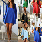 US Women VNeck Off Shoulder Mini Dress Summer Casual Chiffon Loose Blouse Top HX