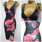 NEW NEXT JESSICA WRIGHT BODYCON DRESS PENCIL FLORAL SCUBA BLACK PINK GREY 8 - 14