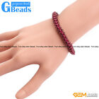Handmade 4mm Garnet Weave Stretchy Bracelet For Women Fashion Jewelry Gift 7""