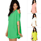Summer Women Short Sleeve Casual Chiffon Cocktail Party Evening Short Mini Dress