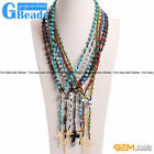 """8mm Beaded The Lord Prayer Rosary Cross Pendant Necklace Christian Jewelry 27"""""""