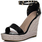 Womens Adjustable Buckle Wedge Heel Sandals Shoes Sz 3-8
