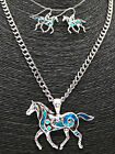 Beautiful BlueBell Horse Necklace and Earrings Set